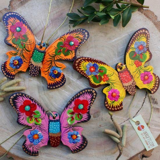 Schmetterlinge - schöne Osterdeko Set aus Holz- handbemalt