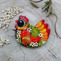 Chicken fridge magnet - hand painted on wood