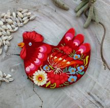 Chicken fridge magnet - hand painted made of wood