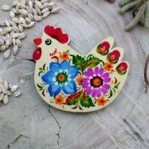 Chicken fridge magnet - Ukrainian Petrykivka art