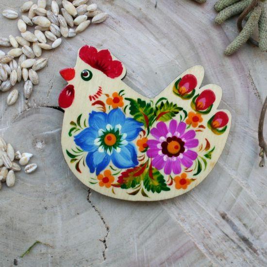 Huhn - Kühlschranktmagnete Tiere-Thema aus Holz - traditionelles Kunsthandwerk