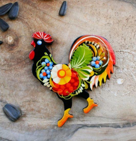 "Beautiful fridge magnet and souvenir ""Rooster"", handmade, Petrykivka painting"