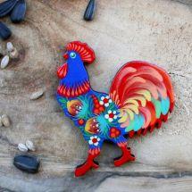 Rooster - pretty handmade wooden fridge magnet