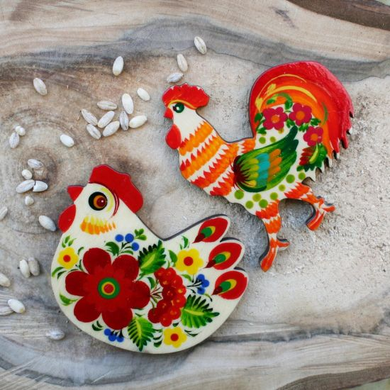 Rooster lovers magnet and souvenir, handmade, Petrykivka painting