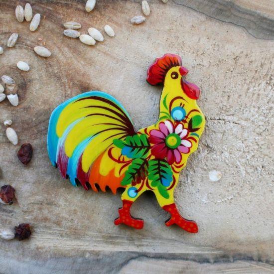 Magnet aus Holz - Hahn - schöne Kühlschrankmagnete Tiere von Handbemalt