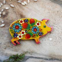 Piggi - creative fridge magnet and slacky charm, Petrykivka painting