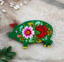 "Funny fridge magnet and cool gift  ""Piggi"", handmade, Petrykivka painting"
