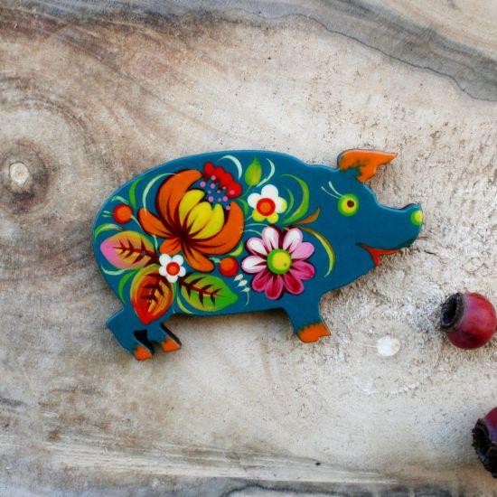 "Creative fridge magnet and small gift  ""Pig"", ukrainian Petrykivka painting"