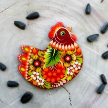 Chicken fridge magnet - Ukrainian Petrykivka painting