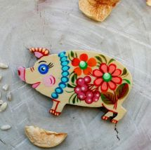 Funny pig- fridge magnet and lacky charm, hand painted
