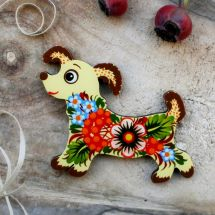 Dog - wooden fridge magnets hand painted