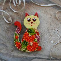 "Handmade kitchen decor fridge magnet and souvenir ""Cat"", Petrykivka painting"