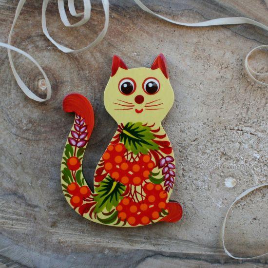 Katze -Handmade Kühlschrankmagnet handbemalt