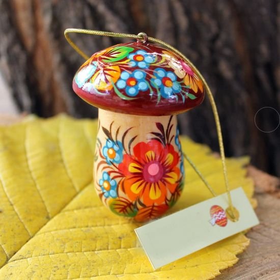 Wooden mushroom Christmas ornaments and small box for gifts, handmade
