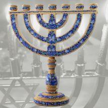 Hanukkah menorah and sabbath wooden candleholder