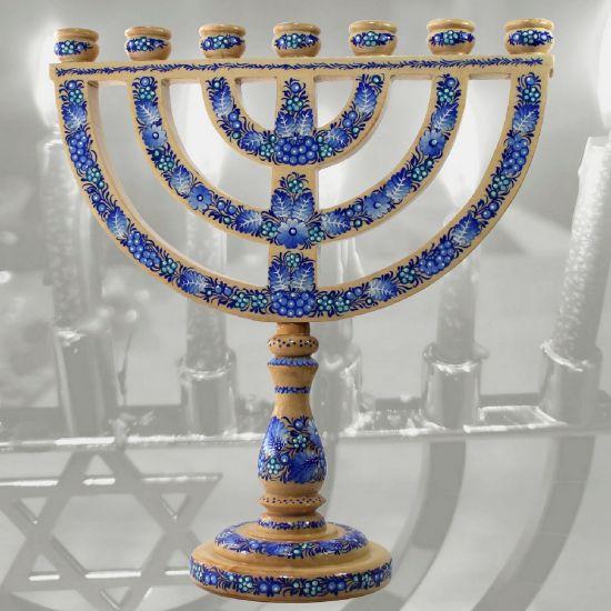 Chanukka Menorah und Sabbat Kerzenständer aus Holz