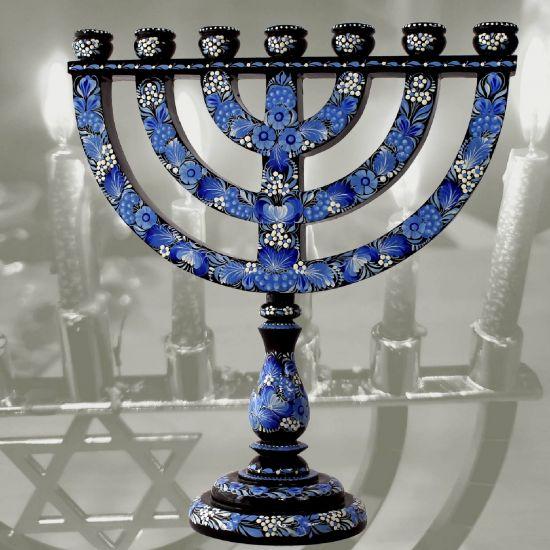 Menorah - Jewish candleholder - high quality handcraft, blue