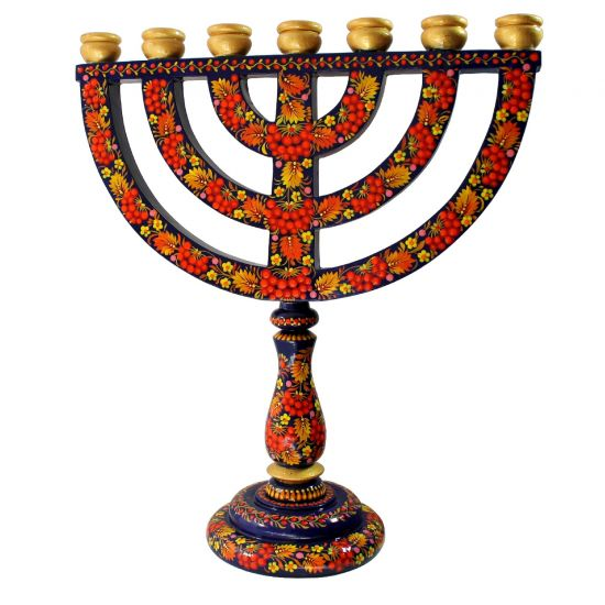Jewish candle holder menorah painted by hand