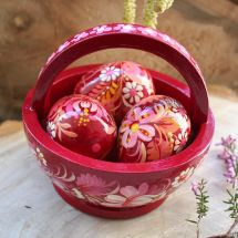 Easter basket with three eggs - easter deco - for the easter table - handpainted - ukrainian Petrykivka painting
