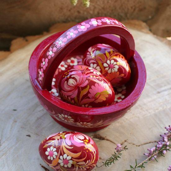 Körbchen mit drei Ostereiern - Kuntshandwerk aus der Ukraine
