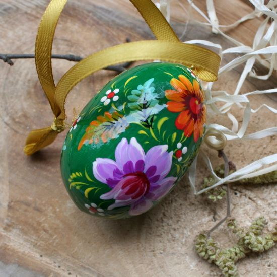 Hand painted wooden Easter egg with small bird, green