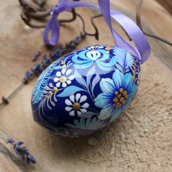 Beautiful wooden Easter egg  with fabulous bird, delicate work