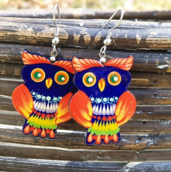Owl wooden earrings, ethnic fashion