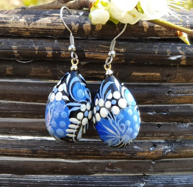 Folk style earrings Drop in Blue, handmade from wood and hand painted
