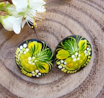 Folk-style wooden carnation earrings, hand painted