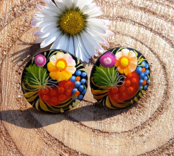 Folk style wooden carnation earrings, hand painted
