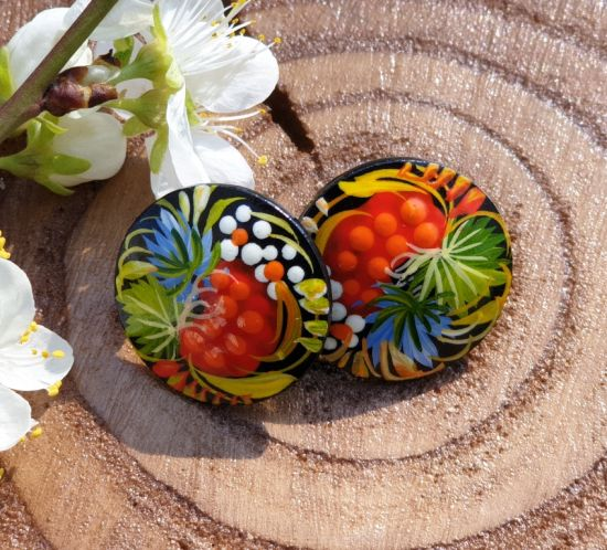 Wooden carnation earrings, hand painted