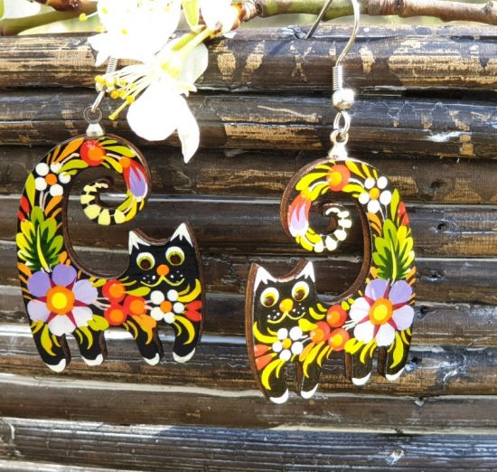 Funny cats wooden earrings cat , hand painted in ukrainian style