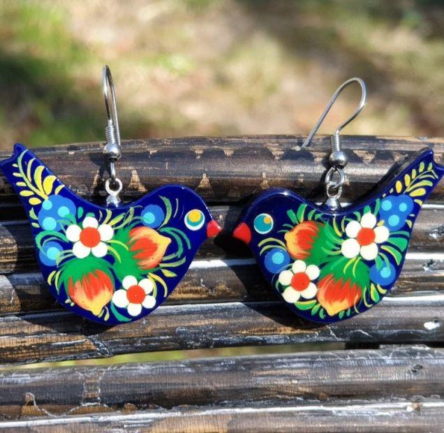Folk style earrings Bird, wooden, hand painted