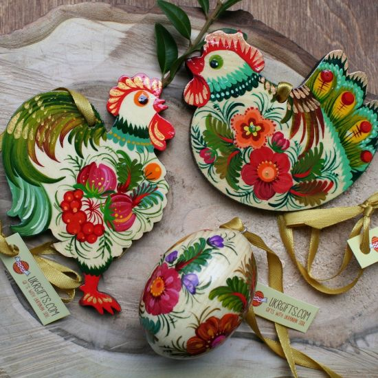 Easter ornaments made of wood with flowers patterns - Rooster, Chicken, Easter egg