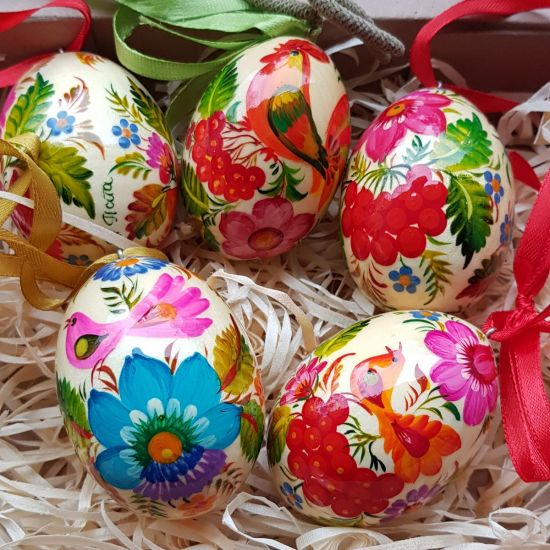 Ukrainian traditional Easter wooden eggs to hang, set, painted with bird motive
