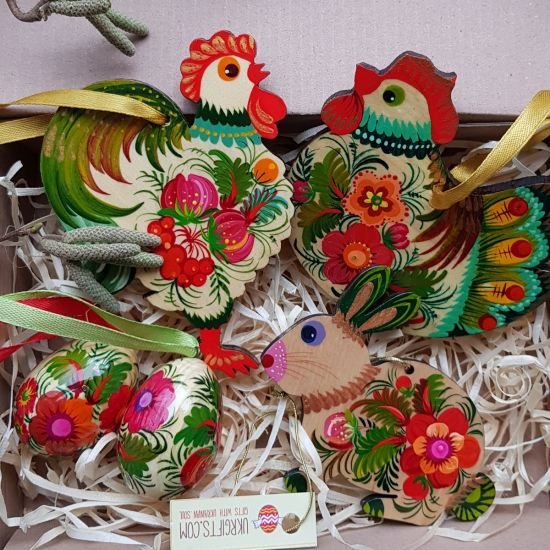 Creative Easter ornaments set made of wood  - Easter rabbit, Chicken, Rooster small Easter eggs, hand painted