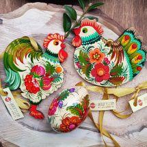 Schöner Osterschmuck Set aus Holz-Huh, Hahn, Osterei-traditionelles Kunsthandwerk