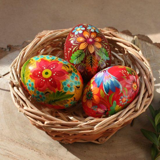 Ukrainian Easter eggs in basket - hand painted on wood