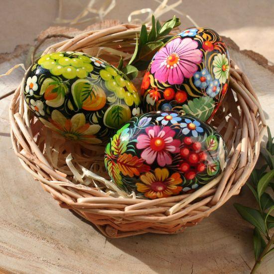 Ukrainian Easter eggs in basket - saturated colors - Pysanky hand painted on wood