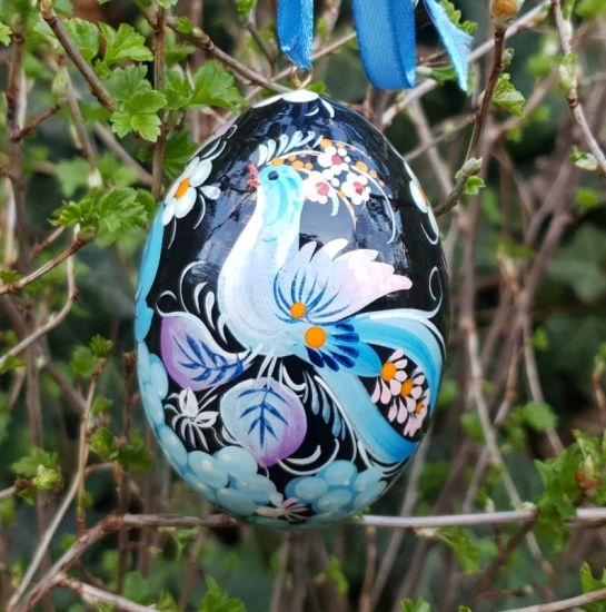 Unique hand painted Easter egg  with fantasy bird, made of wood