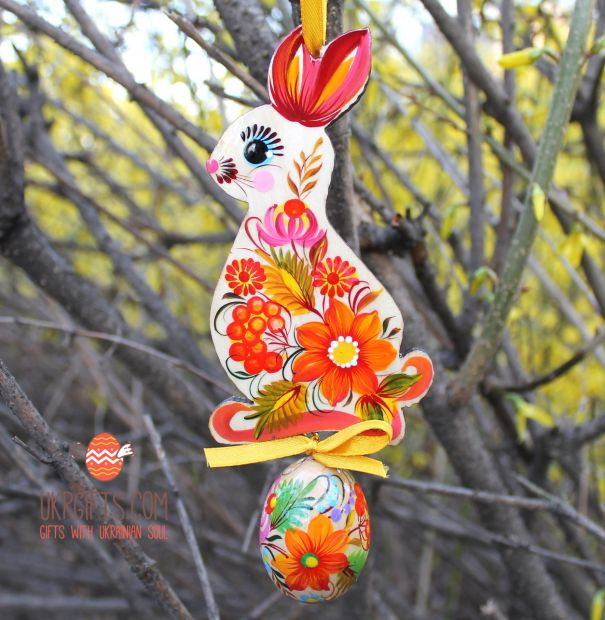 Easter ornament, Bunny with easter egg, ukrainian painting