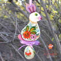 Easter ornament, Rabbit with easter egg, ukrainian painting