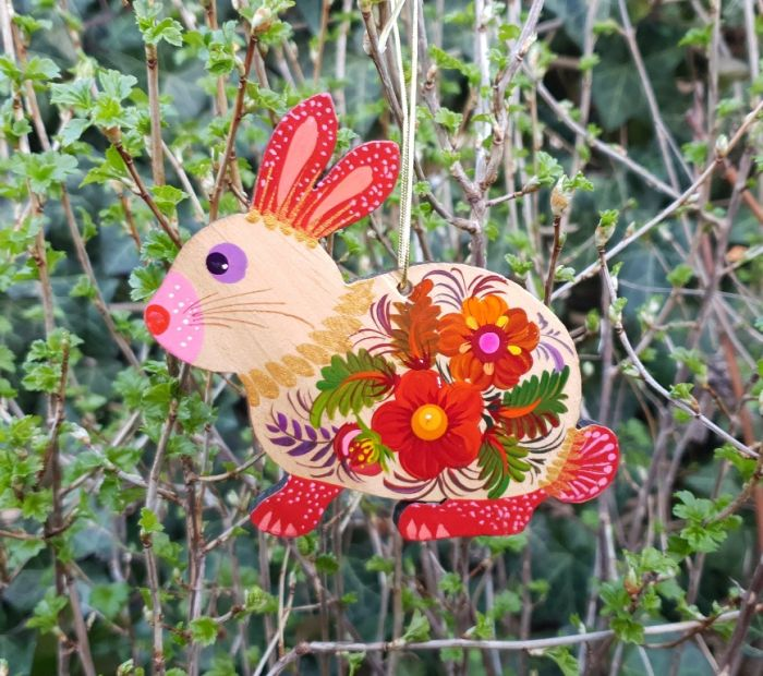 Easter bunny, handpainted easter ornament