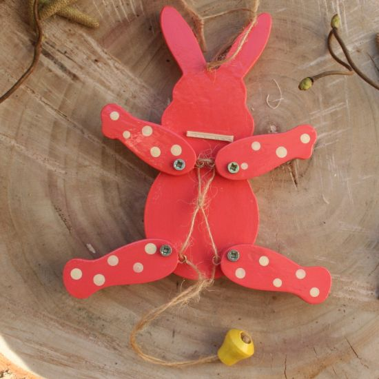 Easter bunny  - wooden jumping jack toy, wall decoration for children room, handmade