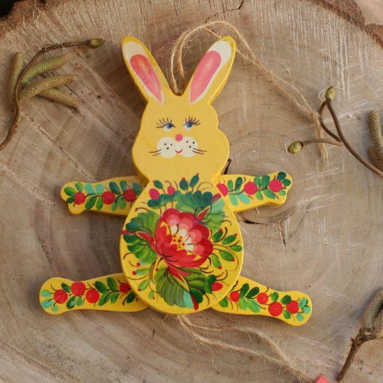 Hase-Hampelmann, bewegiches Spielzueg aus Holz, handbemalt
