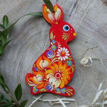 Easter rabbit in red - beautiful Easter ornaments hand painted