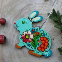 Easter rabbit ornament, pretty bunny from wood hand painted