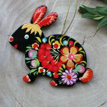 Ukrainian hand painted easter rabbit - Petrykivka painting