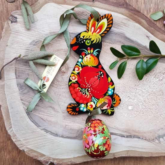Funny Easter bunny with an egg - hand painted wooden Easter ornaments, black