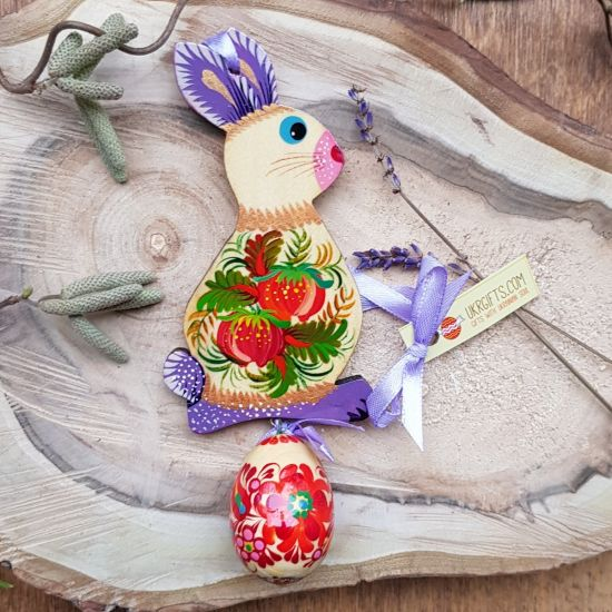 Easter bunny with an egg - hand painted wooden Easter decoration, purple